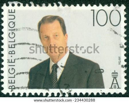 BELGIUM - CIRCA 1994: A stamp printed in the Belgium shows King Albert II, Belgian king, circa 1994 - stock photo
