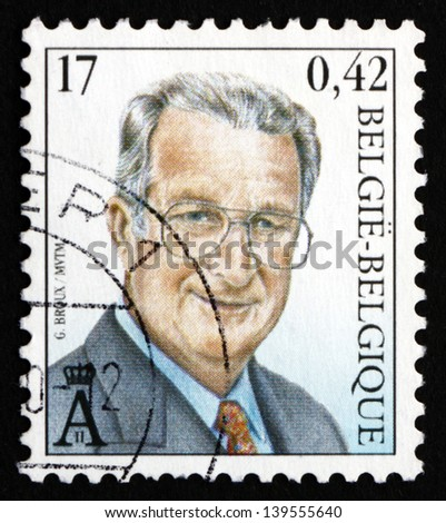 BELGIUM - CIRCA 2000: a stamp printed in the Belgium shows King Albert II of Belgium, circa 2000 - stock photo