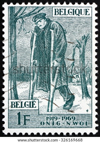 BELGIUM - CIRCA 1969: a stamp printed in the Belgium shows Wounded Veteran, National War Veterans' Aid Organization, circa 1969 - stock photo