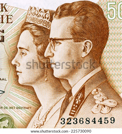 BELGIUM - CIRCA 1966: King Baudouin I and Queen Fabiola on 50 Francs 1966 Banknote from Belgium. - stock photo