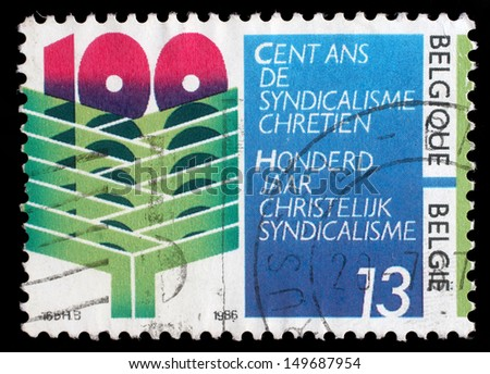 BELGIUM - CIRCA 1986: stamp printed by Belgium dedicated to 100 year of Christian syndicalisme in Belgium, circa 1986 - stock photo