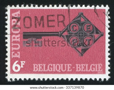 BELGIUM - CIRCA 1968: stamp printed by Belgium, shows emblem Europe, circa 1968