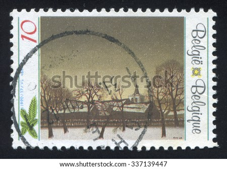 BELGIUM - CIRCA 1990: stamp printed by Belgium, shows Winter Scene by Jozef Lucas, circa 1990
