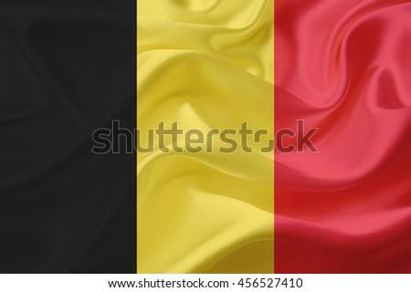 Belgium flag of silk - stock photo