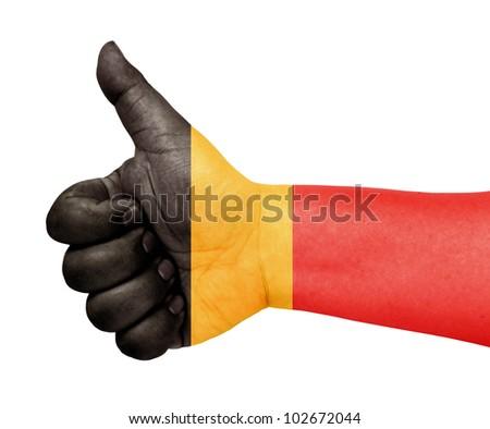 Belgium flag on thumb up gesture like icon - stock photo