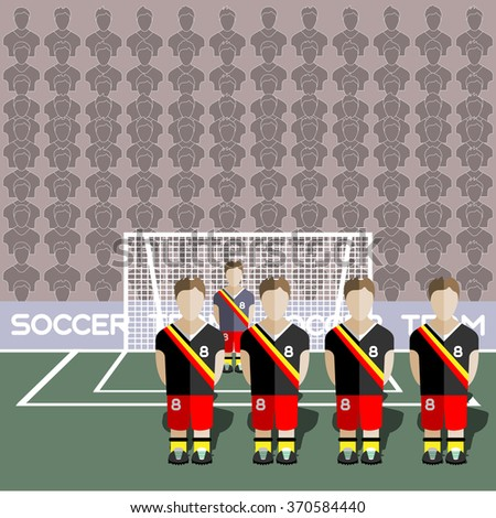 Belgium Football Club Soccer Players Silhouettes. Computer game Soccer team players big set. Sports infographic. Football Teams in Flat Style. Goalkeeper Standing in a Goal. Raster illustration. - stock photo