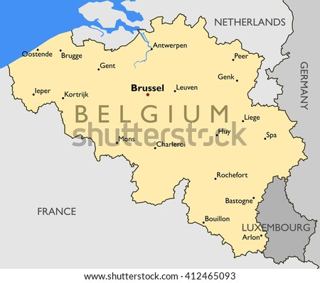 Belgium Map Color Map Belgium Stock Illustration 412465093