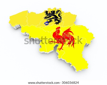 belgium province flags on 3d map