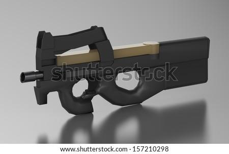 Belgium sub machine gun design by 3D graphic in dull background  - stock photo