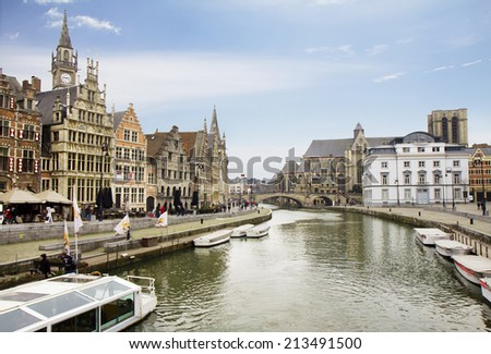 Belgium. The Embankments Of Ghent. Along the embankments of Ghent are the beautiful house of the XVI and XVII centuries. Buildings on both banks of the river Lys unique beauty.