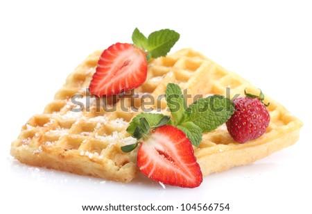 belgium waffles with strawberries and mint  isolated on white - stock photo