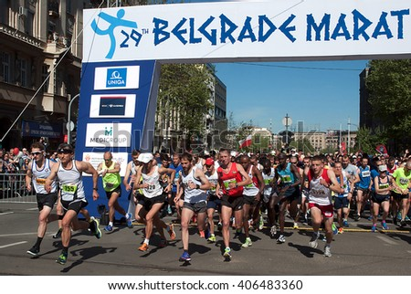 "BELGRADE-APRIL16:A group of runners start race on ""The29th Belgrade Marathon"".April 16, 2016 in Belgrade,Serbia"