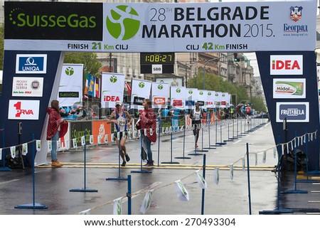 "BELGRADE-APRIL 18:""28th Belgrade Marathon"".Velimir Bojovi (SRB) won in half marathon for men with time1 hour 08min 27sec.On April 18, 2015 in Belgrade,Serbia  - stock photo"