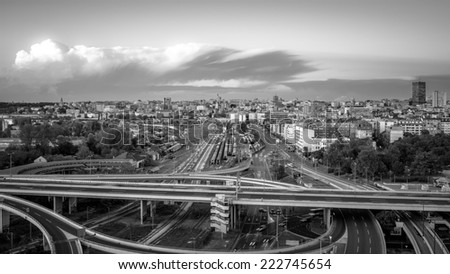 Belgrade capital of Serbia - Aerial view - stock photo