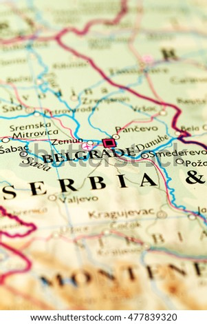 Belgrade City Serbia, on atlas world map