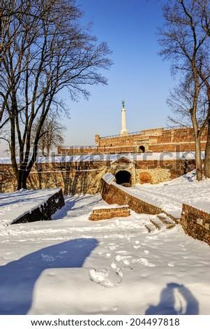 Belgrade fortress an winter, Belgrade Serbia - stock photo