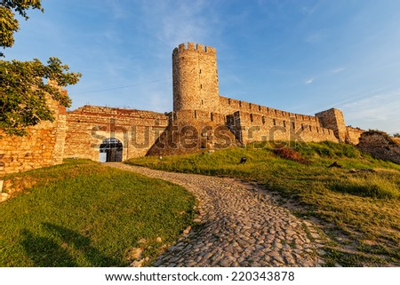 Belgrade fortress and Kalemegdan park with dramatic clouds  - stock photo