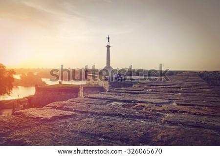 Belgrade fortress at sunset, Belgrade Serbia. Shallow depth of field. - stock photo