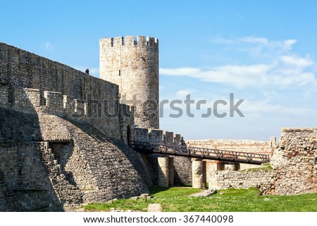 Belgrade Fortress consists of the old citadel (Upper and Lower Town) and Kalemegdan Park. Popular landmark in the city - stock photo