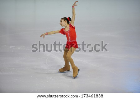 "BELGRADE - JANUARY 23: Bulgaria's Presiyana Dimitrova performs her free skating program at Europa Cup figure skating competition ""Skate Helena"" in Belgrade, Serbia on January 23, 2014 - stock photo"