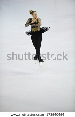 "BELGRADE - JANUARY 24: Croatia's Valentina Mikac performs her short program at  Europa Cup figure ice skating competition ""Skate Helena"" in Belgrade, Serbia on January 24, 2014 - stock photo"