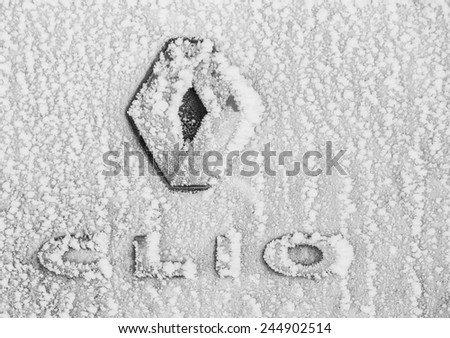 BELGRADE - JANUARY 14: Frozen Renault Clio logo on Jan. 14, 2015 in Belgrade, Serbia. Renault S.A. is a French car manufacturer producing cars, vans, buses, trucks, tractors, tanks, autorail vehicles - stock photo