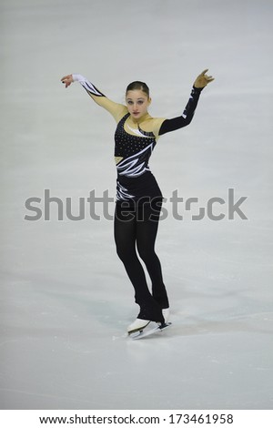 "BELGRADE - JANUARY 23: Italia's Sara Lavagnini permorms her free skating program at  Europa Cup figure skating competition ""Skate Helena"" in Belgrade, Serbia on January 23, 2014 - stock photo"