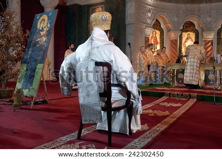 BELGRADE-JANUARY 7.Mr.Bishop Toplicki vicar of the Serbian Patriarch,during the Christmas Liturgy in the Temple of Saint Sava in Belgrade.January 7,2015 in Belgrade, Serbia   - stock photo