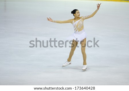 "BELGRADE - JANUARY 24: Philippines' Frances Clare Untalan performs her short program at  Europa Cup figure ice skating competition ""Skate Helena"" in Belgrade, Serbia on January 24, 2014"
