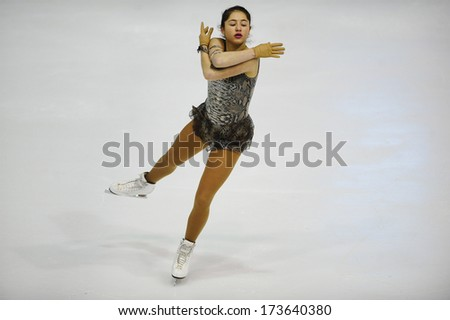 "BELGRADE - JANUARY 25:Serbia's Sandra Ristivojevic performs free skating at Europa Cup figure ice skating competition ""Skate Helena"" in Belgrade, Serbia on January 25, 2014 - stock photo"