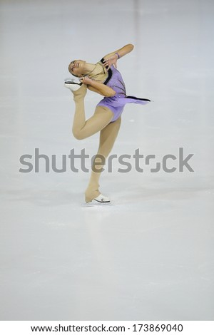 "BELGRADE - JANUARY 24: Turkey's Selin Hafizoglu performs her short program at Europa Cup figure ice skating competition ""Skate Helena"" in Belgrade, Serbia on January 24, 2014 - stock photo"