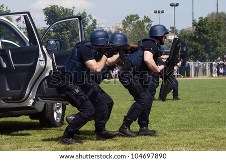 "BELGRADE-JUNE 3:""Celebration of Serbian Police day"",Intervention units in the exercise . On June 3,2012 in Belgrade,Serbia"