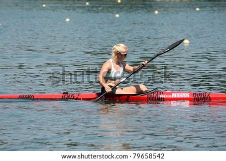 BELGRADE - JUNE 18: European Senior Canoe Sprint Championship June 18, 2011 in Belgrade, Serbia. - stock photo
