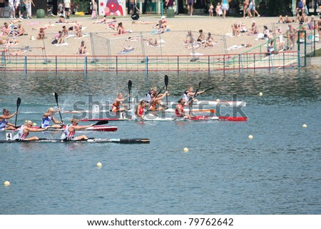 BELGRADE - JUNE 18: European Senior Canoe Sprint Championship June 18, 2011 in Belgrade, Serbia.