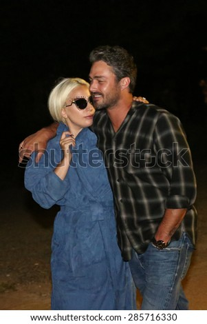 BELGRADE - JUNE: Lady Gaga and Taylor Kinney in melancholic Beorad after dinner at a restaurant on July 4, 2015 in Belgrade,Serbia - stock photo