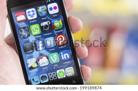BELGRADE - JUNE 17, 2014 Popular Social media icons on smart phone screen - stock photo