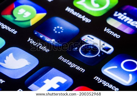 BELGRADE - JUNE 23, 2014 Popular social media icons youtube instagram and other on smart phone screen close up