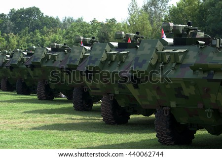 """BELGRADE-JUNE 6:Rear view of armored combat vehicles on """"Celebration of Serbian Police day"""". On June 6,2016 in Belgrade,Serbia - stock photo"""