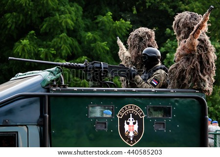 "BELGRADE-JUNE20:Special units of the Serbian police on ""Celebration of Serbian Police day"". On June 20,2016 in Belgrade,Serbia"