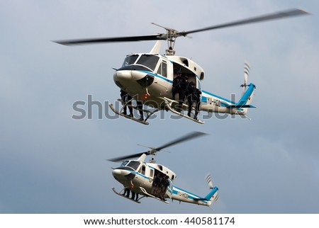 """BELGRADE-JUNE20:Two Helicopters of special Serbian police unit on """"Celebration of Serbian Police day"""". On June 20,2016 in Belgrade,Serbia - stock photo"""