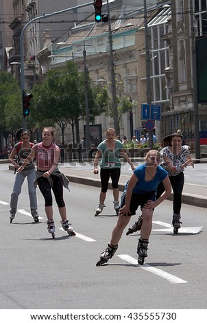 "BELGRADE,JUNE 11:Unidentified participant at the""19th Belgrade Rollerskating Race"" on June 11,2016 in Belgrade,Serbia"