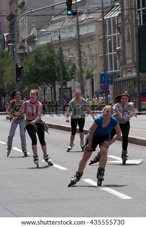 "BELGRADE,JUNE 11:Unidentified participant at the""19th Belgrade Rollerskating Race"" on June 11,2016 in Belgrade,Serbia - stock photo"