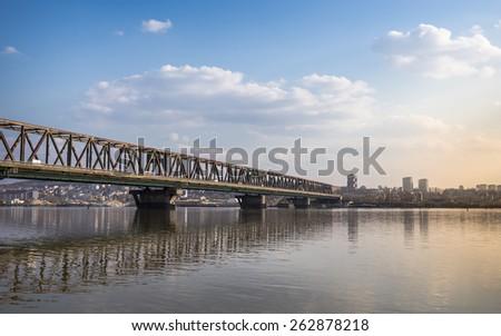Belgrade Landscape - Bridge over Danube river - stock photo