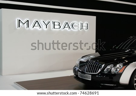 BELGRADE - MARCH 27: A Maybach 57 at 49th International Car Show March 27, 2011 in Belgrade, Serbia. Maybach 57 - stock photo