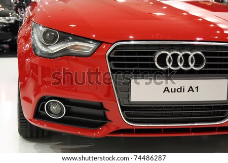 BELGRADE - MARCH 27: An Audi A1 on display at the 24th International Car Show on March 27, 2011 in Belgrade, Serbia.