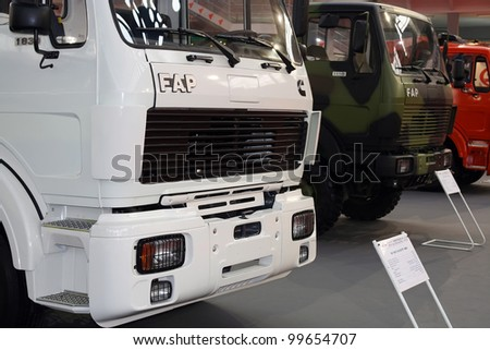BELGRADE - MARCH 29: An FAP trucks on display at the 50th International Car Show on March 29, 2012 in Belgrade, Serbia.