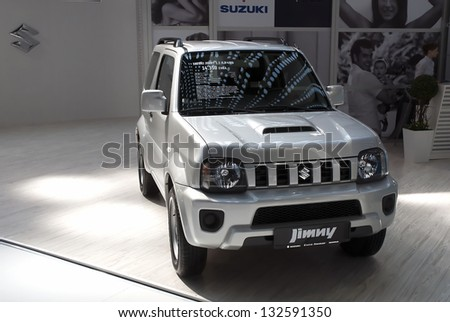 BELGRADE-MARCH 23: Car Suzuki Jimny on the 51th International Belgrade car show.March 23,2013 in Belgrade, Serbia - stock photo