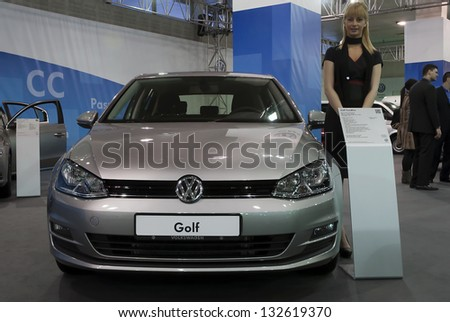 BELGRADE-MARCH 23: Car Volkswagen Golf on  the 51th International Belgrade car show.March 23,2013 in Belgrade, Serbia - stock photo