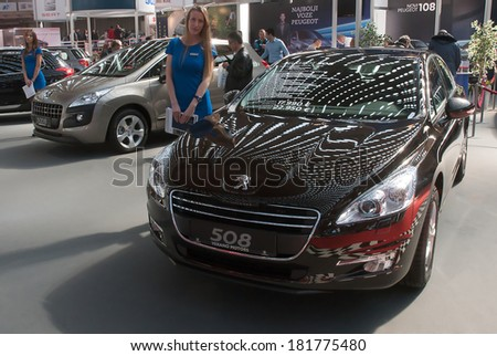 "BELGRADE-MARCH 15:"" International Belgrade car show and motopassion"".Car Peugeot 508,on Belgrade car show.March 15,2014 in Belgrade,Serbia. - stock photo"
