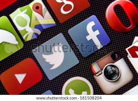 BELGRADE - MARCH 13, 2014 Social media icon Twitter and Facebook on smart phone screen - stock photo